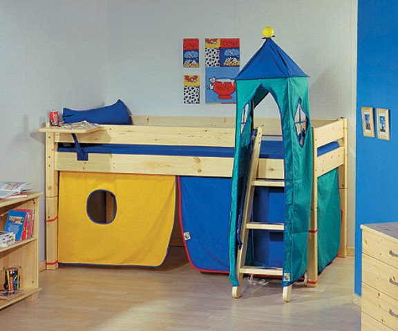 Loft beds with play area portfolio categories kids for Kids bed with play area